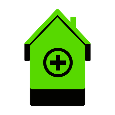 Hospital sign illustration. Vector. Green 3d icon with black side on white background.