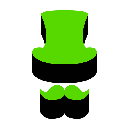 Hipster accessories design. Green 3d icon with black side on white background. Isolated Vector illustration. 일러스트