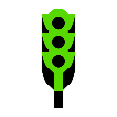 Traffic light sign.   Green 3d icon with black side on white background. Isolated Vector illustration. Illustration