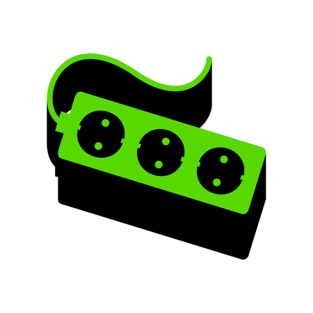 Electric extension plug sign.   Green 3d icon with black side on white background. Isolated Vector illustration.