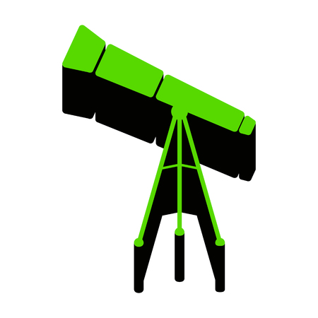 Telescope simple sign.   Green 3d icon with black side on white background. Isolated Vector illustration.