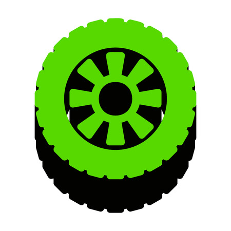 Road tire sign.    Green 3d icon with black side on white background. Isolated Vector illustration.