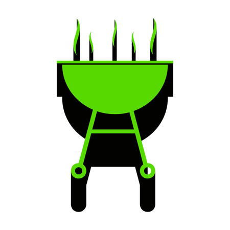 Barbecue simple sign.   Green 3d icon with black side on white background. Isolated Vector illustration.