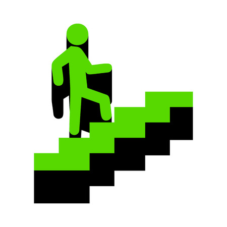 Man on Stairs going up. Vector. Green 3d icon with black side on white background.