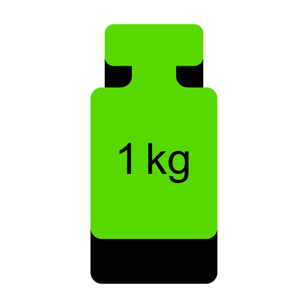Weight simple sign.   Green 3d icon with black side on white background. Isolated Vector illustration. Illustration