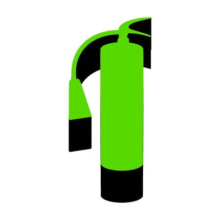 Fire extinguisher sign. Vector. Green 3d icon with black side on white background.