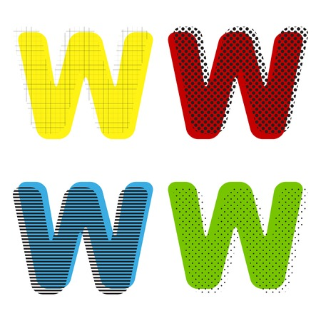 Letter W sign design template element. Vector. Yellow, red, blue Illustration