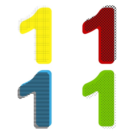 Number 1 sign design template element. Vector. Yellow, red, blue