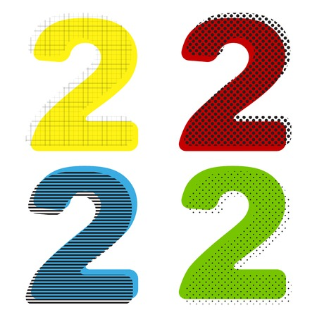 Number 2 sign design template elements. Vector. Yellow, red, blu Illustration