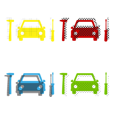 Car tire repair service sign. Vector. Yellow, red, blue, green icons with their black texture at white background.