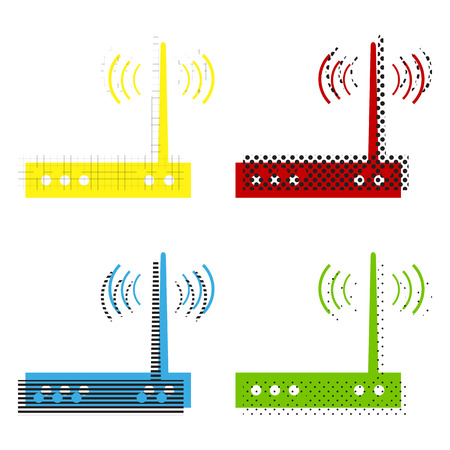 Wifi modem sign. Vector. Yellow, red, blue, green icons with their black texture at white background.