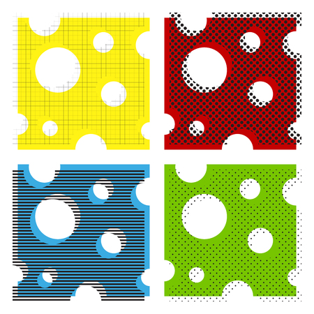 Cheese slice sign. Vector. Yellow, red, blue, green icons with their black texture at white background. Illustration
