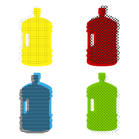 Plastic bottle silhouette sign. Vector. Yellow, red, blue, green icons with their black texture at white background. Ilustração