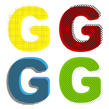 Letter G sign design template element. Vector Yellow, red, blue, green icons with their black texture at white background.