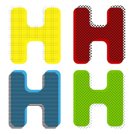 Letter H sign design template element. Vector. Yellow, red, blue, green icons with their black texture at white background.