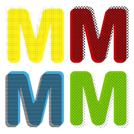 Letter M sign design template element. Vector. Yellow, red, blue, green icons with their black texture at white background. Illustration