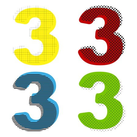 Number 3 sign design template element. Vector. Yellow, red, blue, green icons with their black texture at white background. Illustration