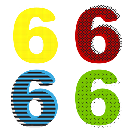 Number 6 sign design template element. Vector. Yellow, red, blue, green icons with their black texture at white background. Illustration