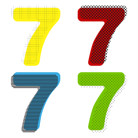 Number 7 sign design template element. Vector Yellow, red, blue, green icons with their black texture at white background.