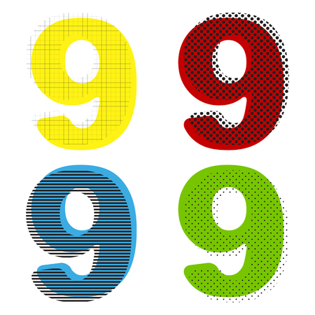 Number 9 sign design template element. Vector. Yellow, red, blue, green icons with their black texture at white background.