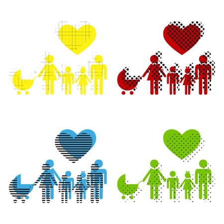 Family sign with heart. Husband and wife are kept childrens hands. Vector Yellow, red, blue, green icons with their black texture at white background. Illustration