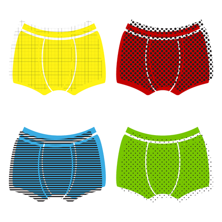 Mans underwear sign. Vector. Yellow, red, blue, green icons with their black texture at white background.