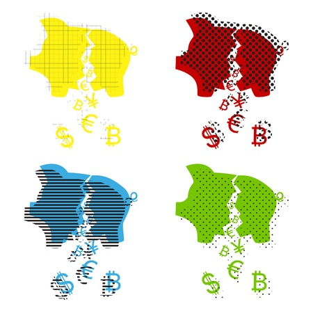 Pig money bank sign. Vector. Yellow, red, blue, green icons with their black texture at white background. Vettoriali