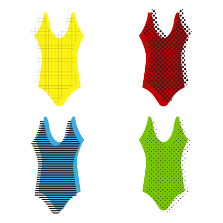 Womans swimsuit sign. Vector. Yellow, red, blue, green icons with their black texture at white background.