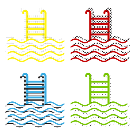Swimming Pool sign. Vector. Yellow, red, blue, green icons with their black texture at white background. Stock Illustratie