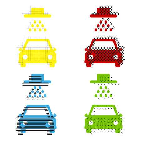 Car wash sign. Vector. Yellow, red, blue, green icons with their black texture at white background.