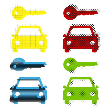 Car key simplistic sign. Vector. Yellow, red, blue, green icons with their black texture at white background.