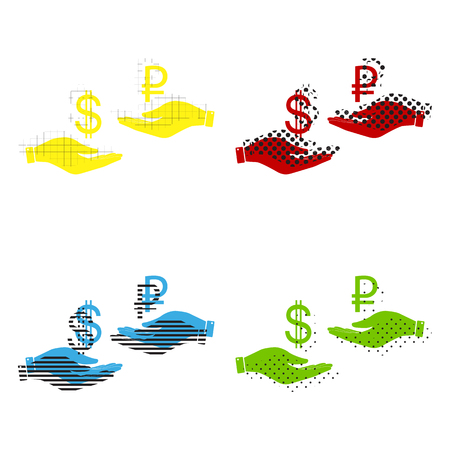 Currency exchange from hand to hand Dollar and Ruble icon in yellow, red, blue and green color