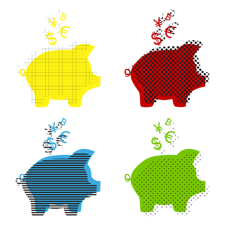 Piggy bank sign with the currencies. Vector. Yellow, red, blue, green icons with their black texture at white background. Ilustração
