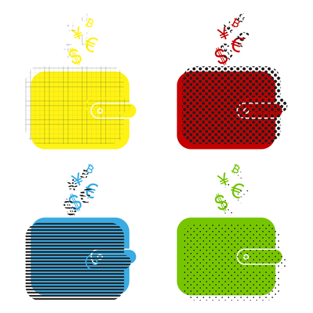 Wallet sign with currency symbols. Vector. Yellow, red, blue, green icons with their black texture at white background.