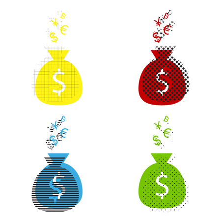 Money bag sign with currency symbols. Vector. Yellow, red, blue, green icons with their black texture at white background.