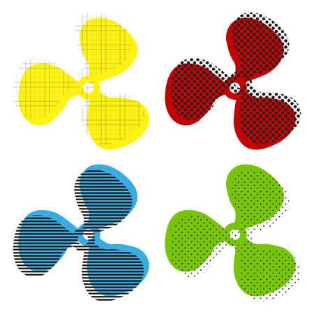 Fan sign. Vector. Yellow, red, blue, green icons with their black texture at white background.