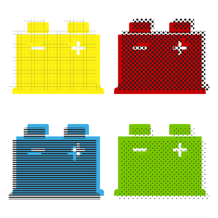 Car battery sign. Vector. Yellow, red, blue, green icons with their black texture at white background.