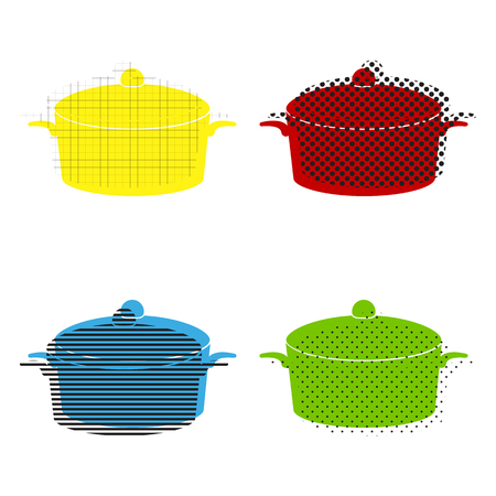 Pan sign. Vector. Yellow, red, blue, green icons with their black texture at white background.