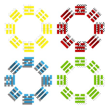 Bagua sign. Vector. Yellow, red, blue, green icons with their black texture at white background.