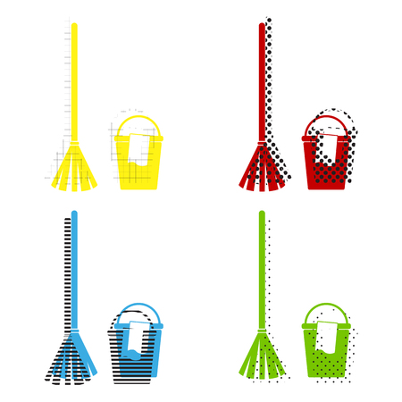 Broom and bucket sign. Vector. Yellow, red, blue, green icons with their black texture at white background.