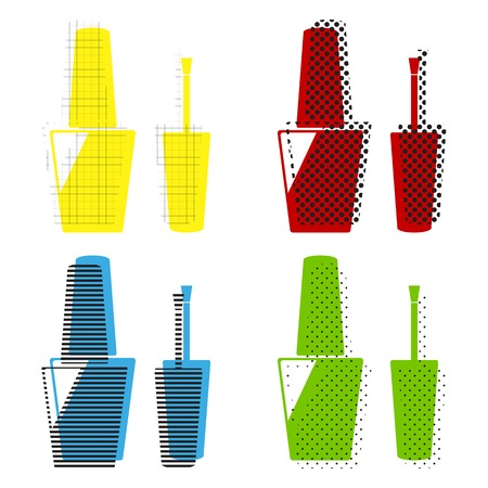 Nail polish sign. Vector. Yellow, red, blue, green icons with th