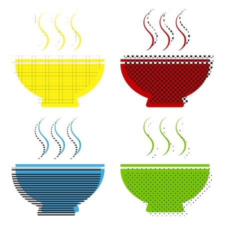Soup sign Vector Yellow, red, blue, green icons