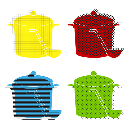 Pan with steam sign. Vector. Yellow, red, blue, green icons with Illustration