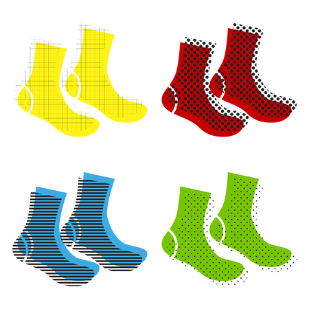 Socks sign. Vector. Yellow, red, blue, green icons with their bl