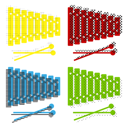Xylophone sign. Vector. Yellow, red, blue, green icons with their black texture at white background.