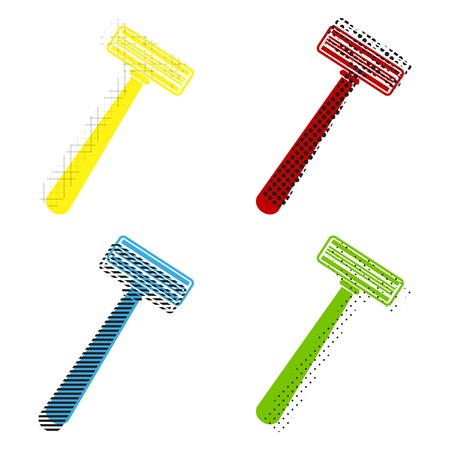 Safety razor sign in Yellow, red, blue, green icons with their black texture at white background.