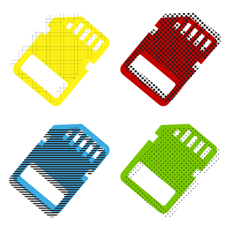 Memory card sign in Yellow, red, blue, green icons with their black texture at white background.