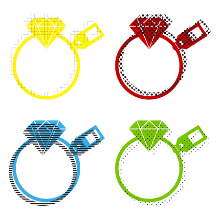 Diamond sign with tag. Vector. Yellow, red, blue, green icons with their black texture at white background.