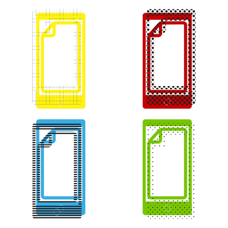 Protective sticker on the screen vector in yellow, red, blue and green colors. 일러스트
