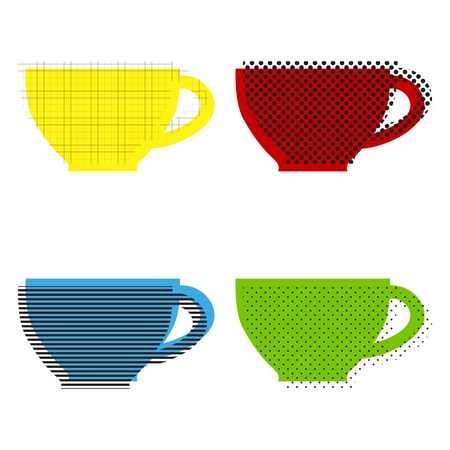 Cup sign. Vector Yellow, red, blue, green icons